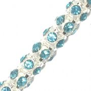 Turquoise rhinestone silver plated  reticulated chain